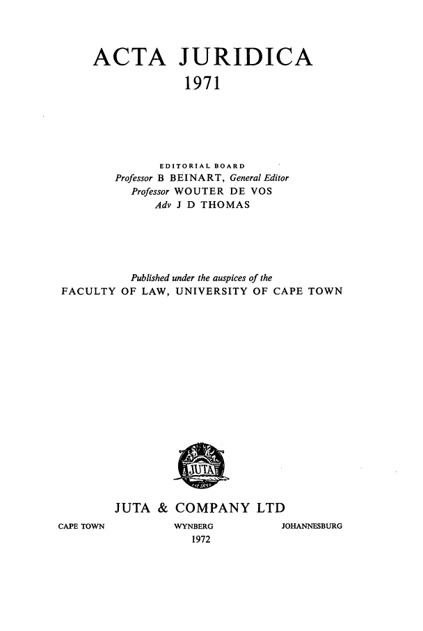 handle is hein.journals/actj1971 and id is 1 raw text is: ACTA JURIDICA