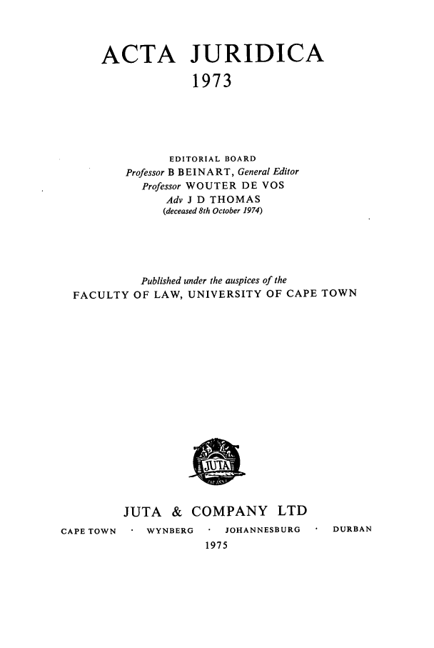 handle is hein.journals/actj1973 and id is 1 raw text is: ACTA JURIDICA