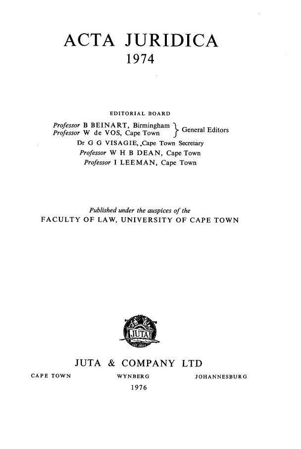 handle is hein.journals/actj1974 and id is 1 raw text is: ACTA JURIDICA