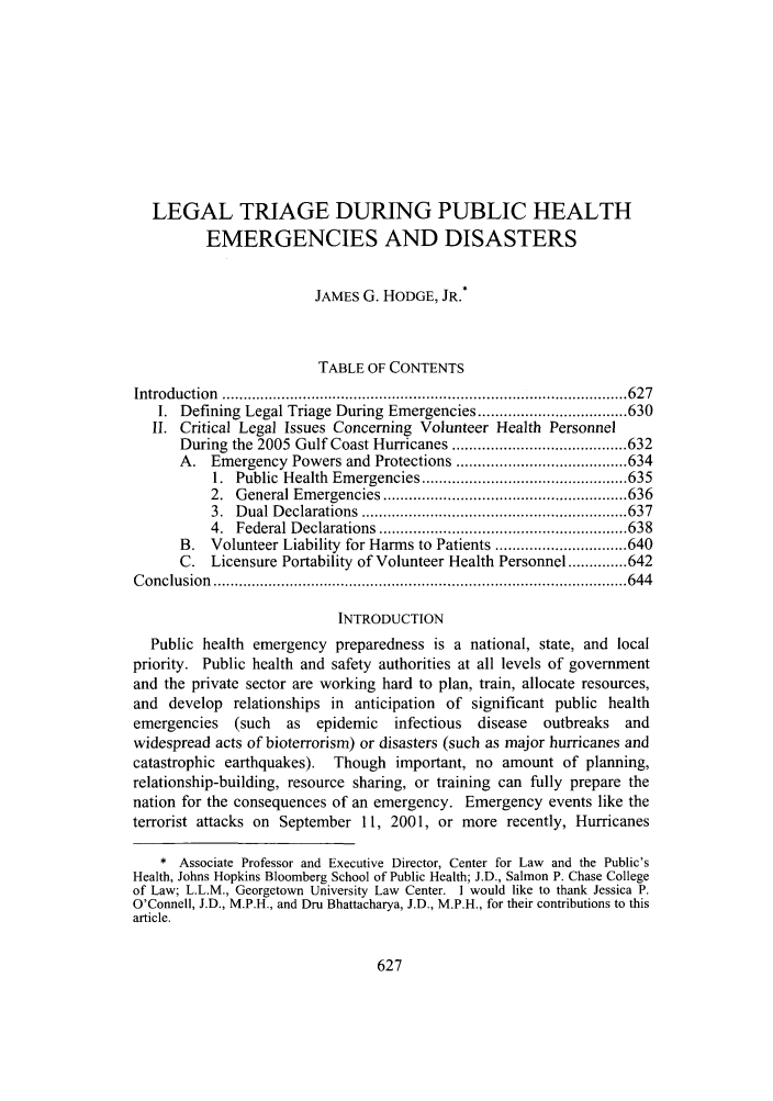 handle is hein.journals/admin58 and id is 635 raw text is: LEGAL TRIAGE DURING PUBLIC HEALTH