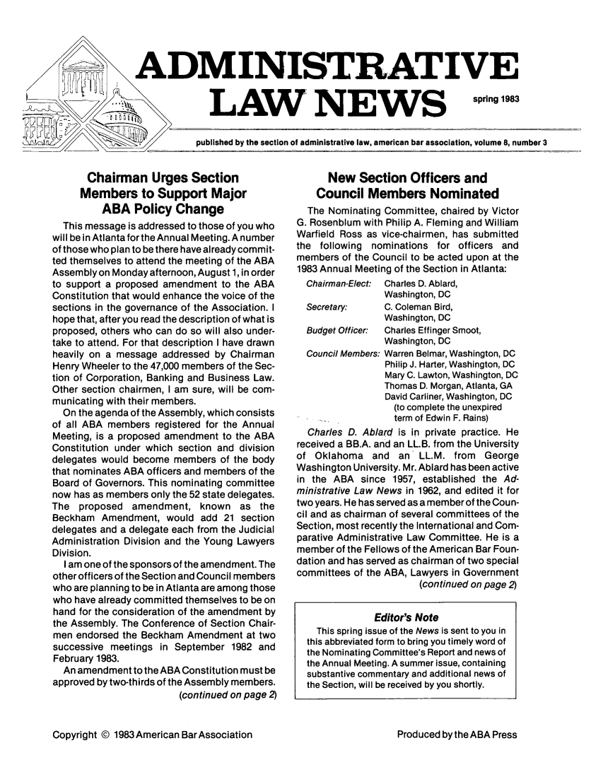 handle is hein.journals/admreln8 and id is 23 raw text is: ADMINISTRATIVE