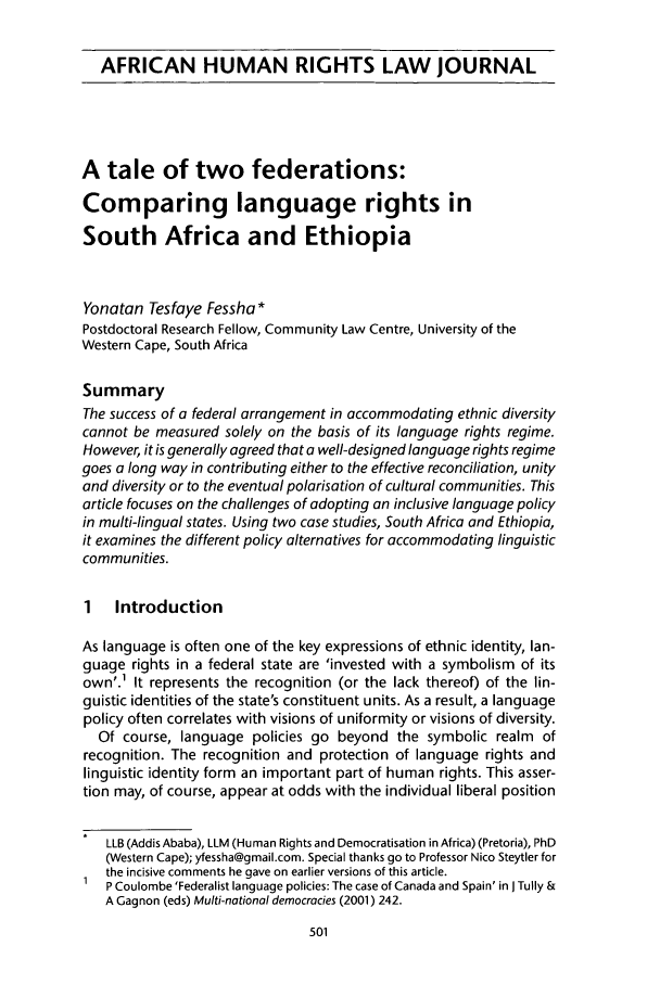Tale of Two Federations: Comparing Language Rights in South