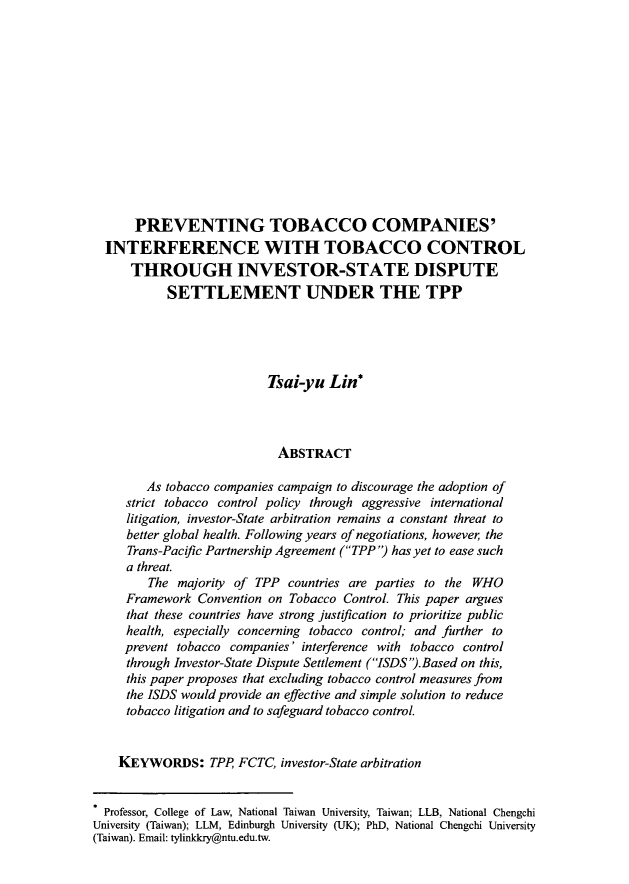 handle is hein.journals/aihlp8 and id is 569 raw text is: PREVENTING TOBACCO COMPANIES'