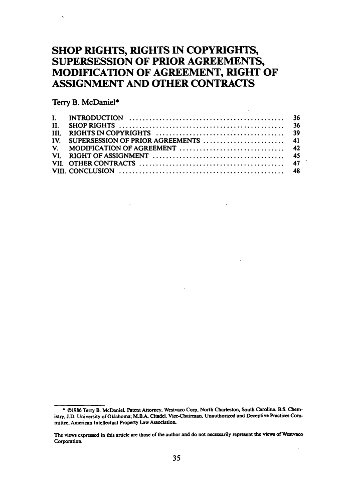 Shop Rights Rights In Copyrights Supersession Of Prior Agreements