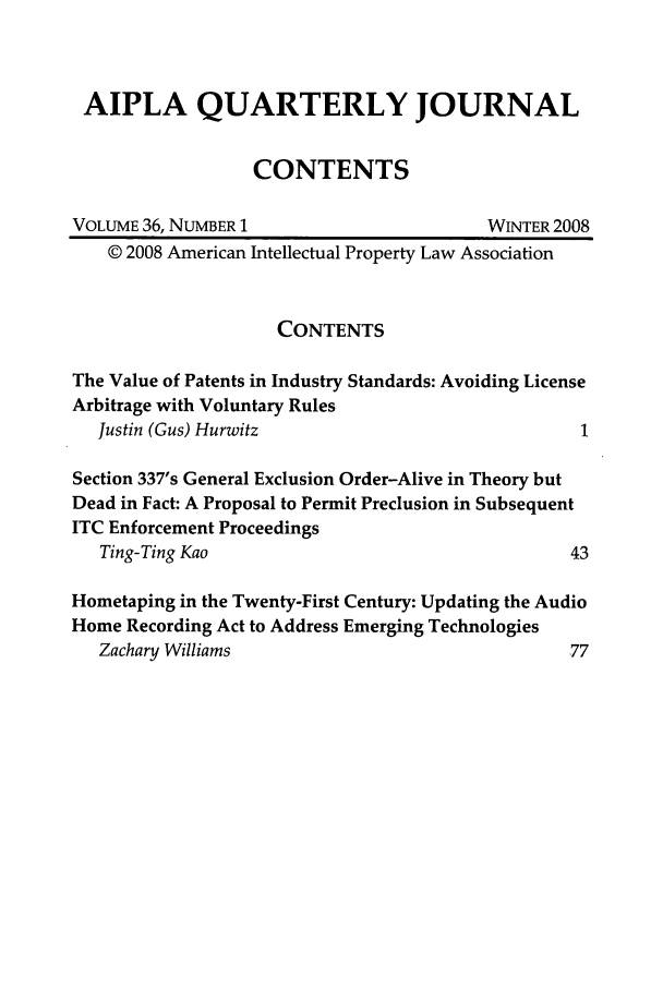 handle is hein.journals/aiplaqj36 and id is 1 raw text is: AIPLA QUARTERLY JOURNAL