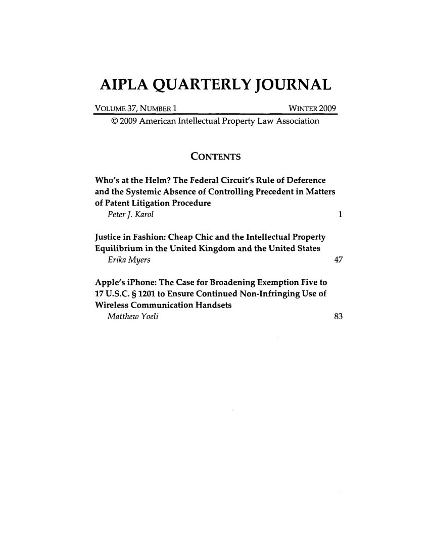 handle is hein.journals/aiplaqj37 and id is 1 raw text is: AIPLA QUARTERLY JOURNAL