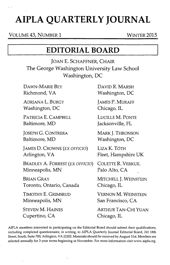 handle is hein.journals/aiplaqj43 and id is 1 raw text is: 