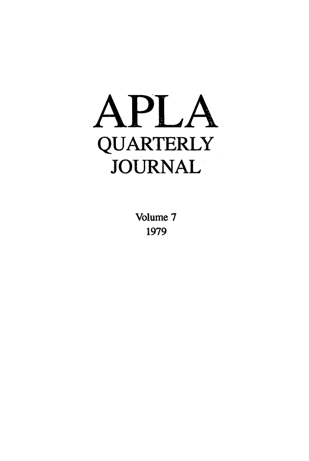 handle is hein.journals/aiplaqj7 and id is 1 raw text is: APLA