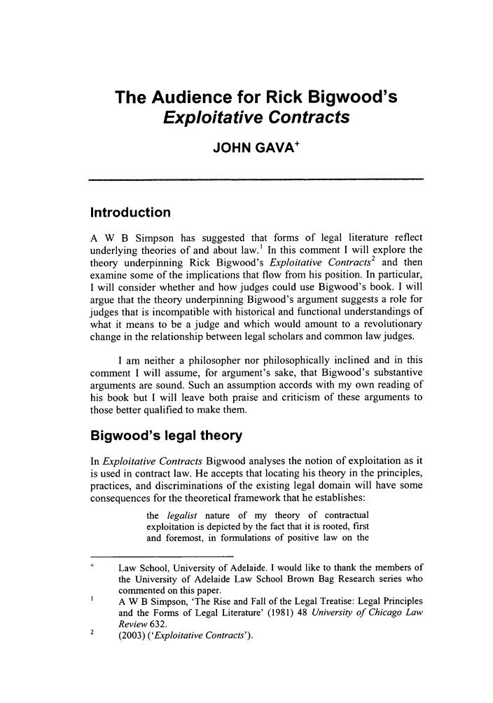 Exploitative Contracts Rick Bigwood