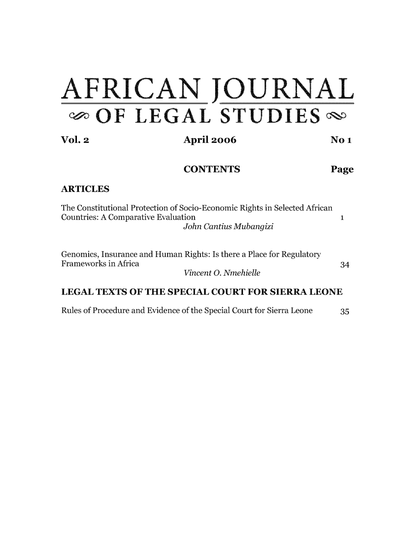 handle is hein.journals/ajls2 and id is 1 raw text is: AFRICAN JOURNAL