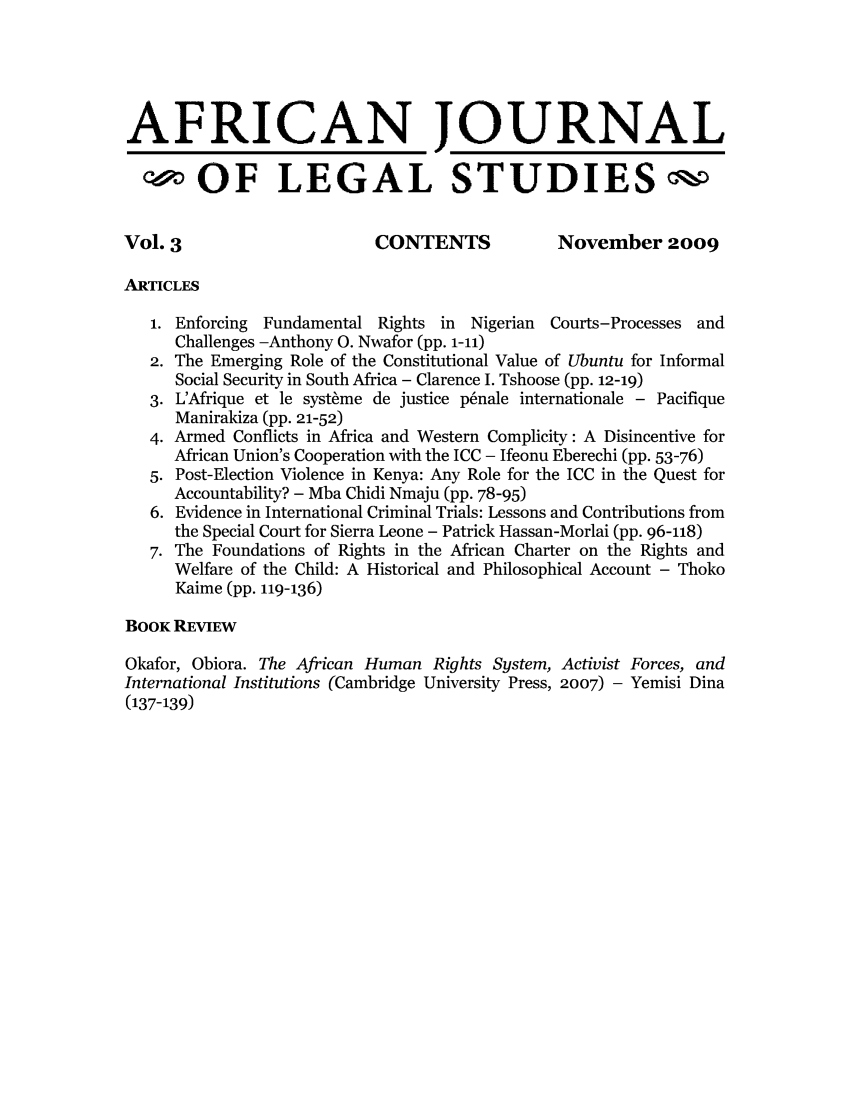 handle is hein.journals/ajls3 and id is 1 raw text is: AFRICAN JOURNAL