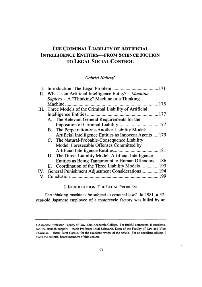 handle is hein.journals/akrintel4 and id is 175 raw text is: THE CRIMINAL LIABILITY OF ARTIFICIAL