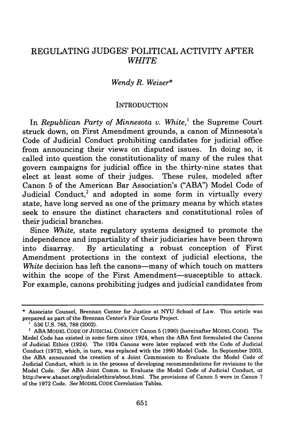 handle is hein.journals/albany68 and id is 673 raw text is: REGULATING JUDGES' POLITICAL ACTIVITY AFTER