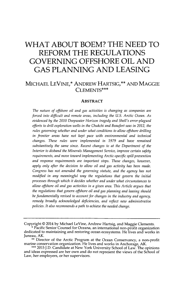 handle is hein.journals/allr31 and id is 245 raw text is: WHAT ABOUT BOEM? THE NEED TO
