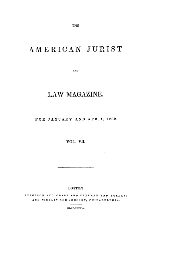handle is hein.journals/amjlm7 and id is 1 raw text is: THE