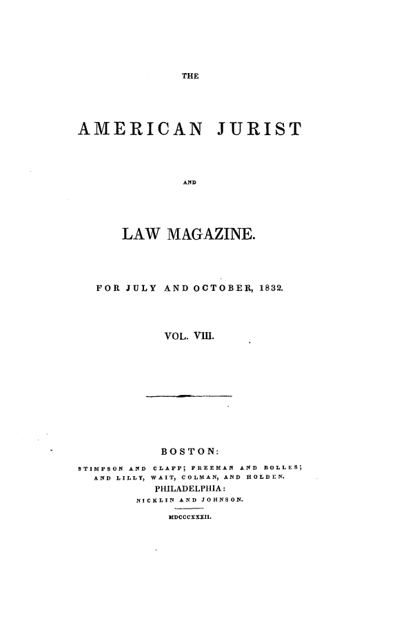 handle is hein.journals/amjlm8 and id is 1 raw text is: AMERICAN JURIST