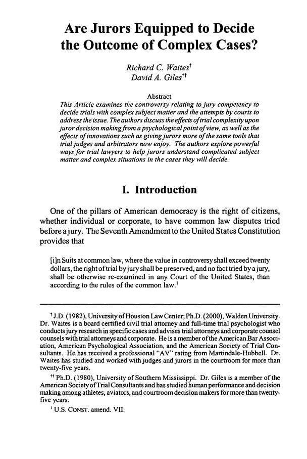handle is hein.journals/amjtrad29 and id is 31 raw text is: Are Jurors Equipped to Decide