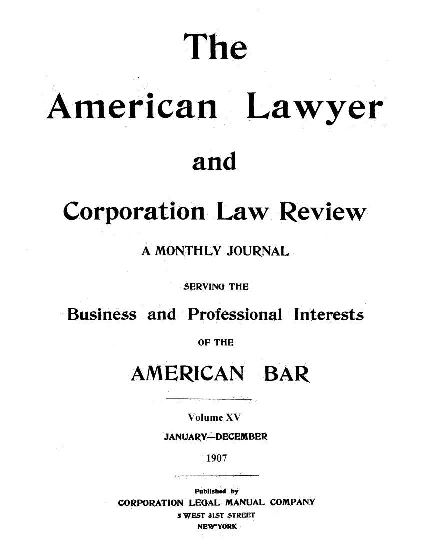handle is hein.journals/amlyr15 and id is 1 raw text is: The