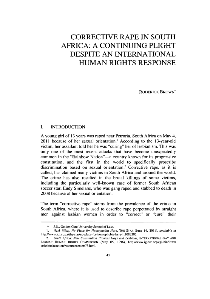 handle is hein.journals/ansurintcl18 and id is 59 raw text is: CORRECTIVE RAPE IN SOUTH
