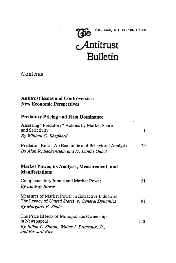 handle is hein.journals/antibull31 and id is 1 raw text is:     e  VOL. XXXI, NO. l/SPRING 1986