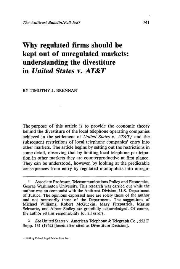 handle is hein.journals/antibull32 and id is 743 raw text is: The Antitrust Bulletin/Fall 1987