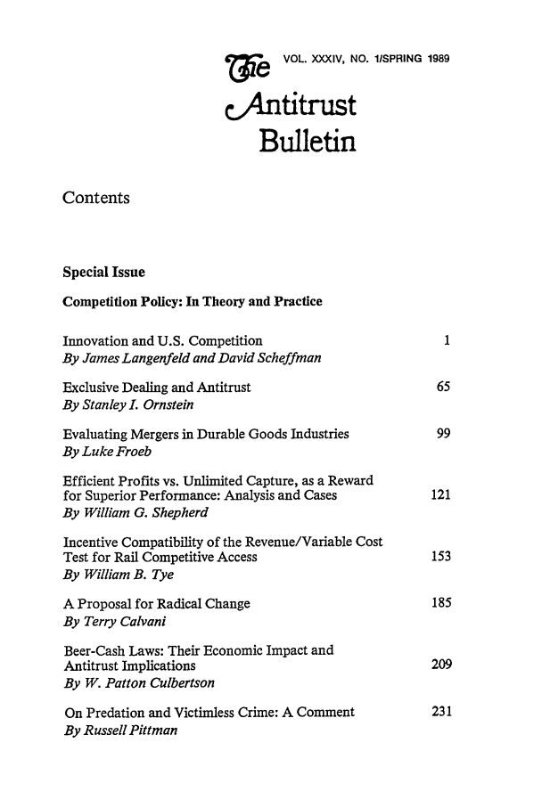 handle is hein.journals/antibull34 and id is 1 raw text is: 7VOL. XXXIV, NO. lSPRING 1989