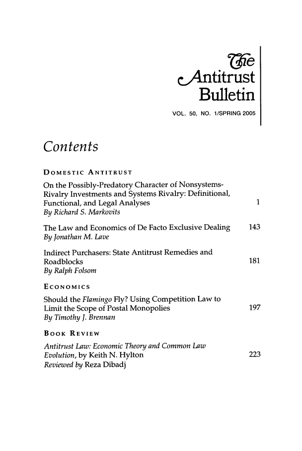 handle is hein.journals/antibull50 and id is 1 raw text is: &4Antitrust