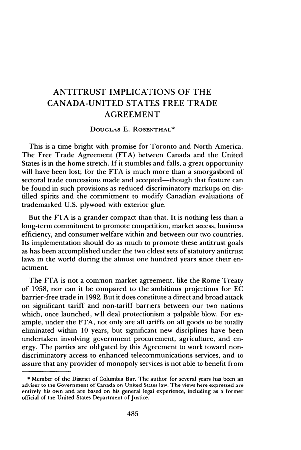 Antitrust Implications Of The Canada United States Free Trade