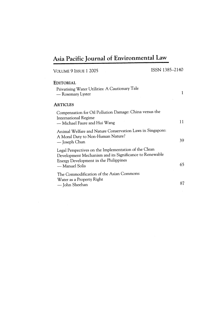 handle is hein.journals/apjel9 and id is 1 raw text is: Asia Pacific Journal of Environmental Law