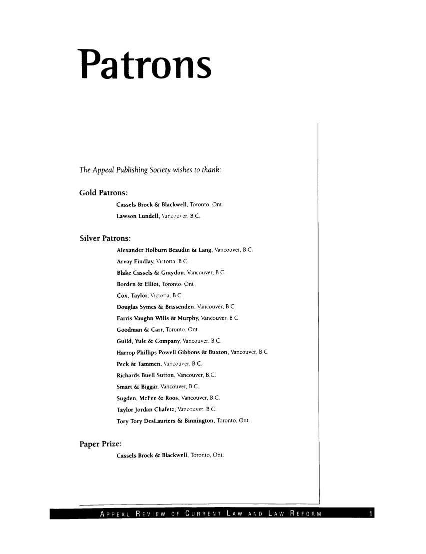 handle is hein.journals/appeal5 and id is 1 raw text is: Patrons