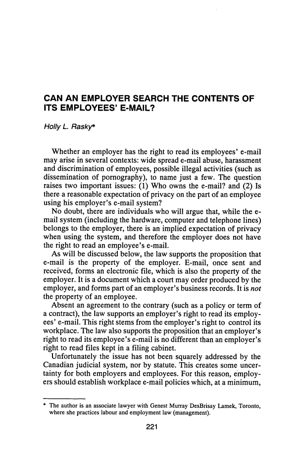 handle is hein.journals/aqrty20 and id is 253 raw text is: CAN AN EMPLOYER SEARCH THE CONTENTS OF