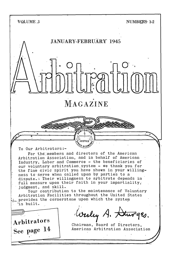 handle is hein.journals/arbitrtn3 and id is 1 raw text is: VOLUME -3