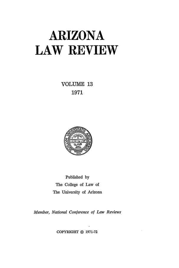 handle is hein.journals/arz13 and id is 1 raw text is: ARIZONA