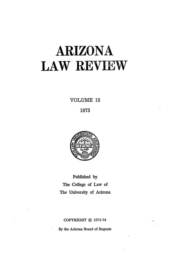 handle is hein.journals/arz15 and id is 1 raw text is: ARIZONA