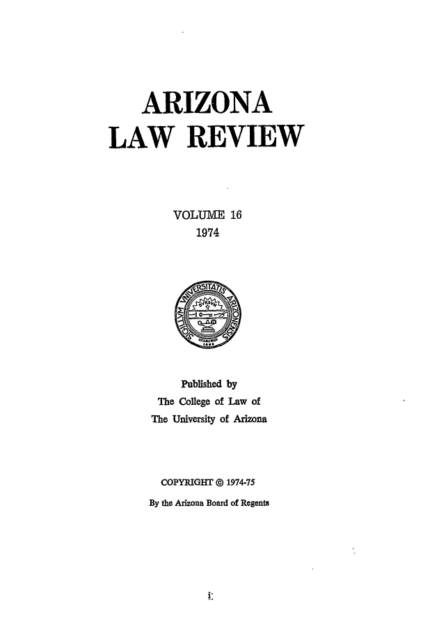 handle is hein.journals/arz16 and id is 1 raw text is: ARIZONA