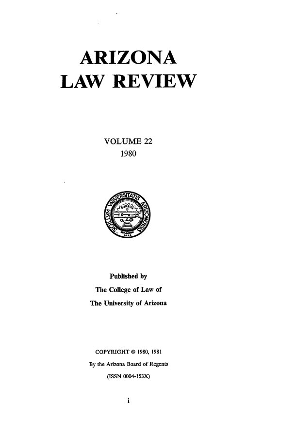 handle is hein.journals/arz22 and id is 1 raw text is: ARIZONA