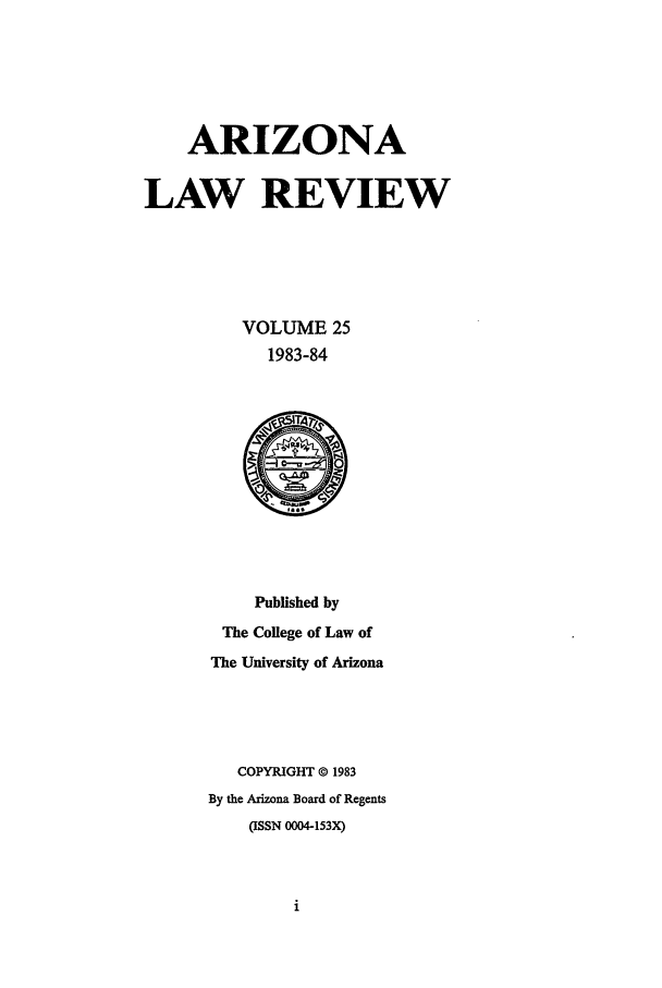 handle is hein.journals/arz25 and id is 1 raw text is: ARIZONA