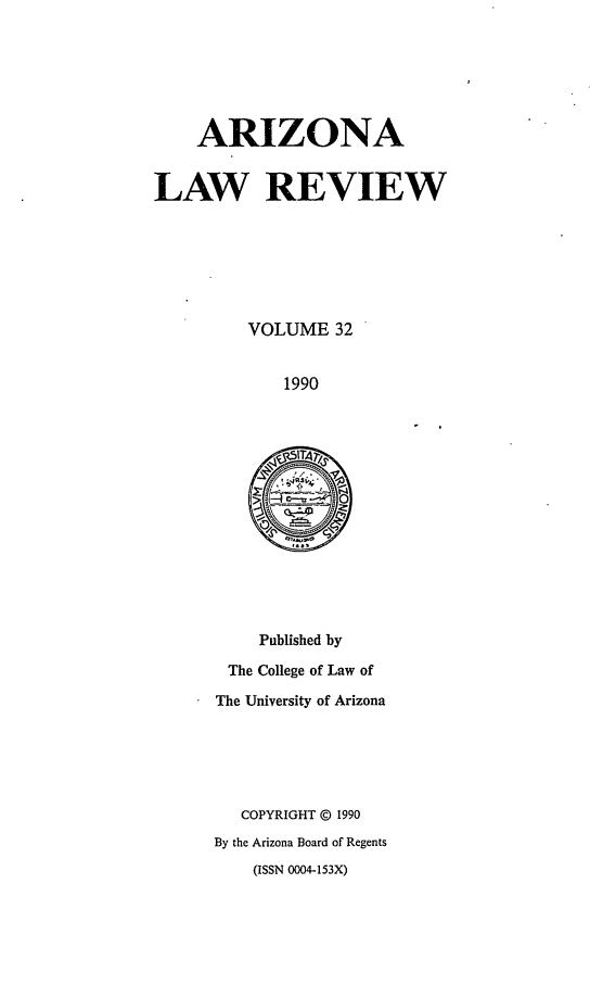 handle is hein.journals/arz32 and id is 1 raw text is: ARIZONA