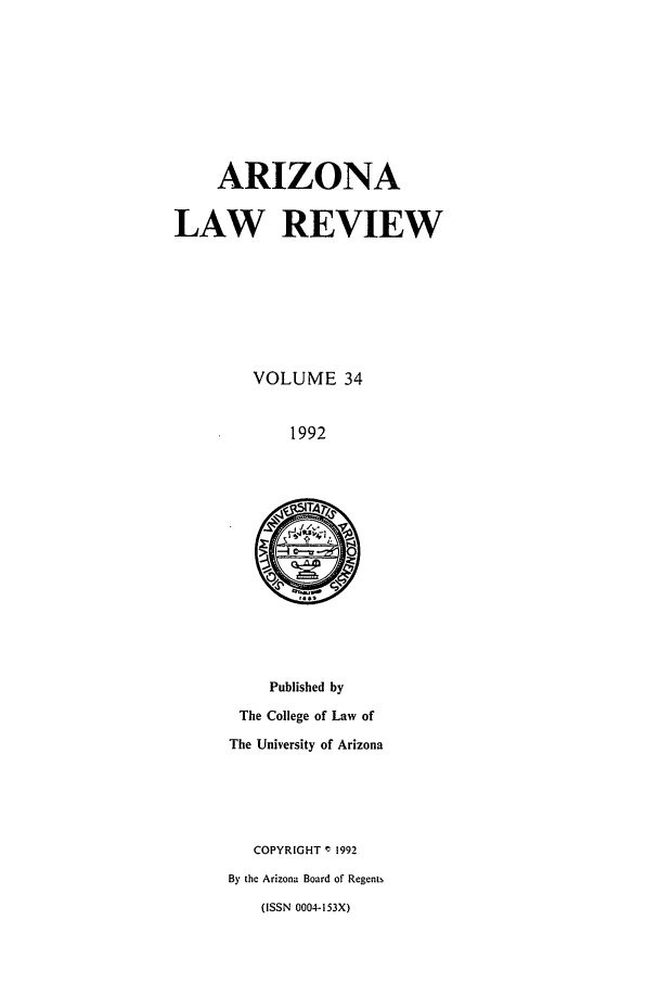 handle is hein.journals/arz34 and id is 1 raw text is: ARIZONA