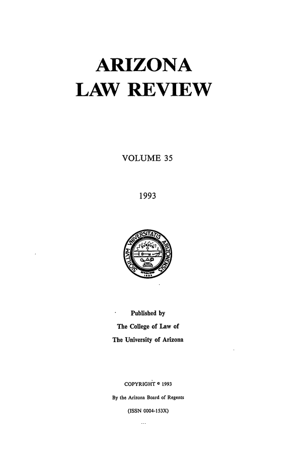 handle is hein.journals/arz35 and id is 1 raw text is: ARIZONA