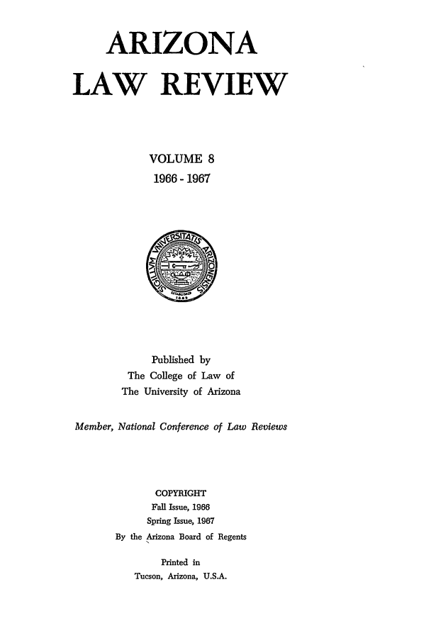 handle is hein.journals/arz8 and id is 1 raw text is: ARIZONA