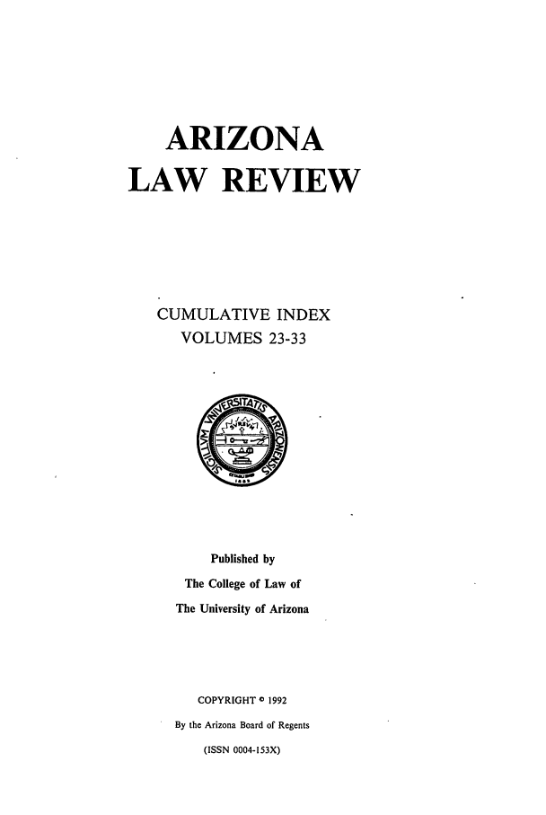 handle is hein.journals/arzci2 and id is 1 raw text is: ARIZONA