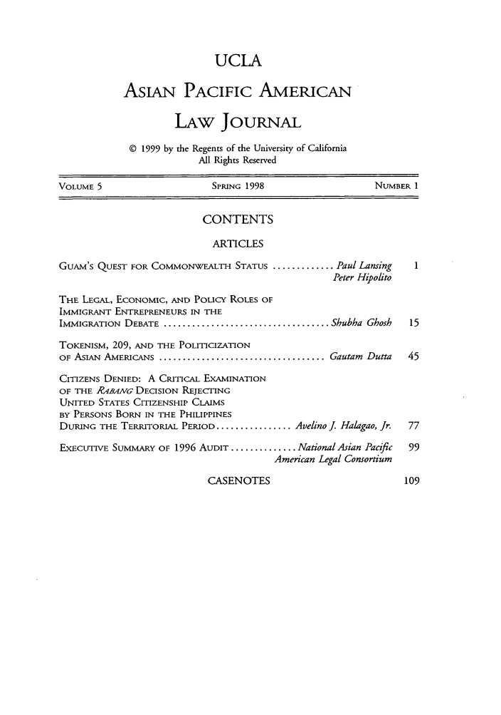 handle is hein.journals/asiapalj5 and id is 1 raw text is: UCLA