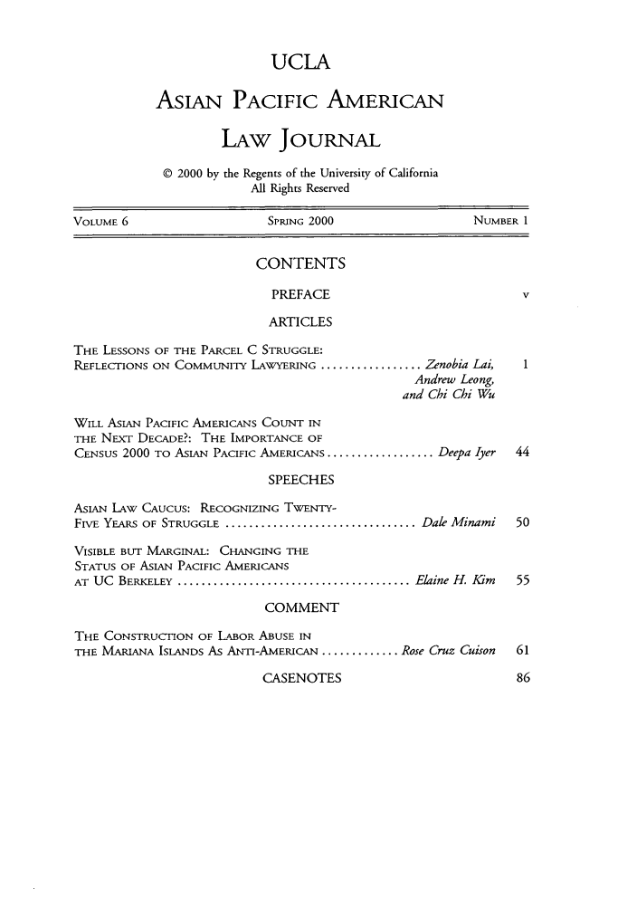 handle is hein.journals/asiapalj6 and id is 1 raw text is: UCLA
