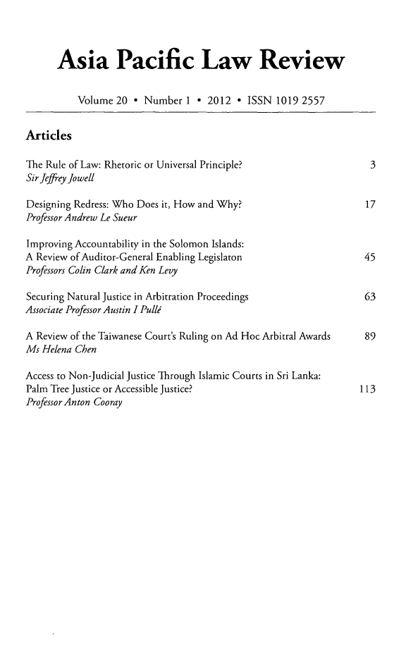 handle is hein.journals/asiaplwre20 and id is 1 raw text is: Asia Pacific Law Review