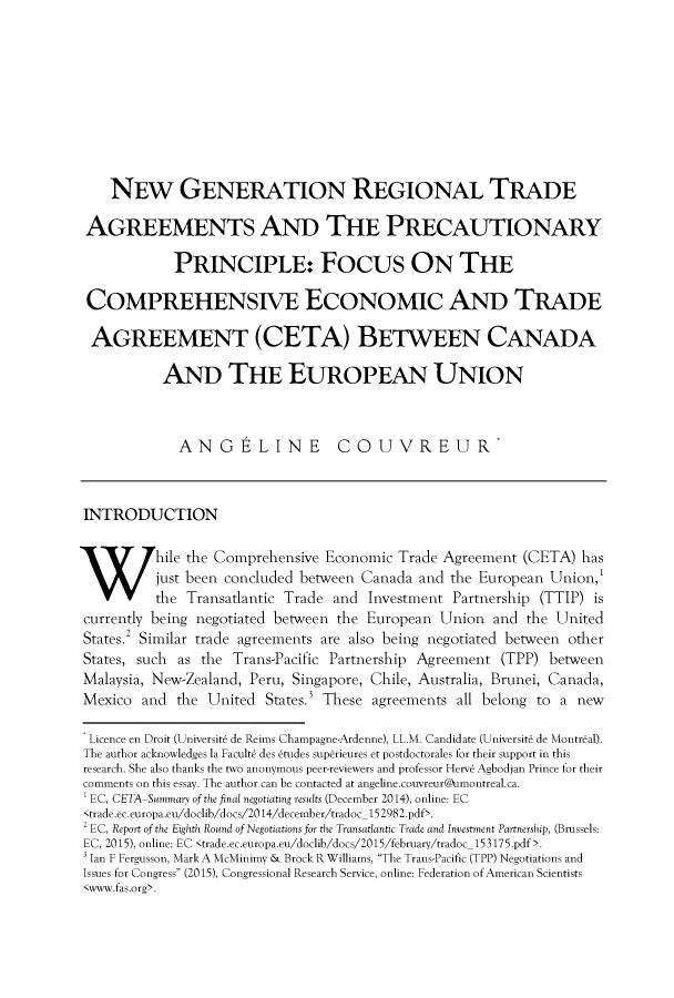 New Generation Regional Trade Agreements And The Precautionary