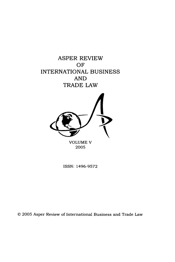 handle is hein.journals/asperv5 and id is 1 raw text is: ASPER REVIEW