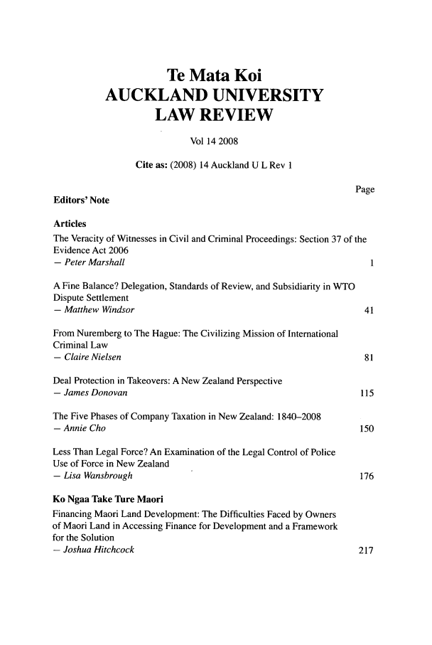 handle is hein.journals/auck14 and id is 1 raw text is: Te Mata Koi