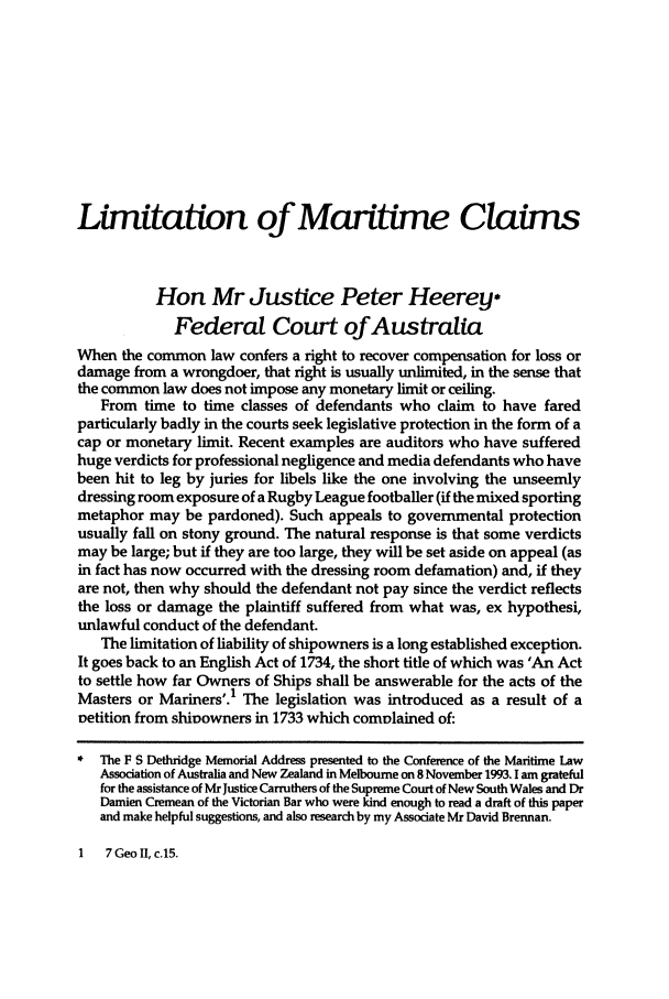 handle is hein.journals/ausnewma10 and id is 1 raw text is: Limitation of Maritime Claims