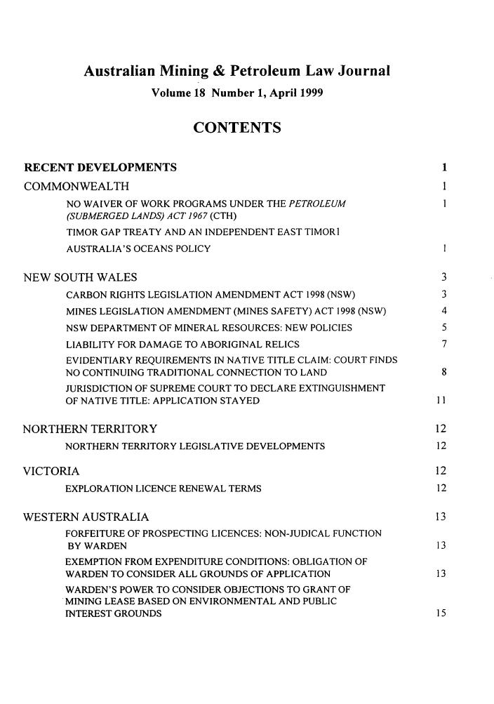 Australian Mining & Petroleum Law Journal V  18